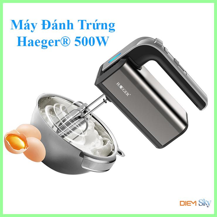 Máy đánh trứng trộn bột làm kem cầm tay HAEGER Turbo 500W 5 tốc độ vỏ inox sáng bóng - Máy đánh trứng 500W bảo hành 12 tháng