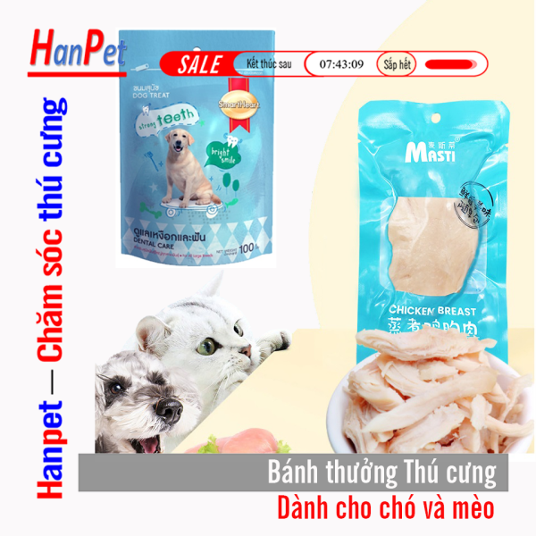 Bánh thưởng cho chó mèo (2 loại) SmartHeart 100gr và  thịt  gà hấp 40gr thức ăn chó mèo đồ ăn vặt thú cưng