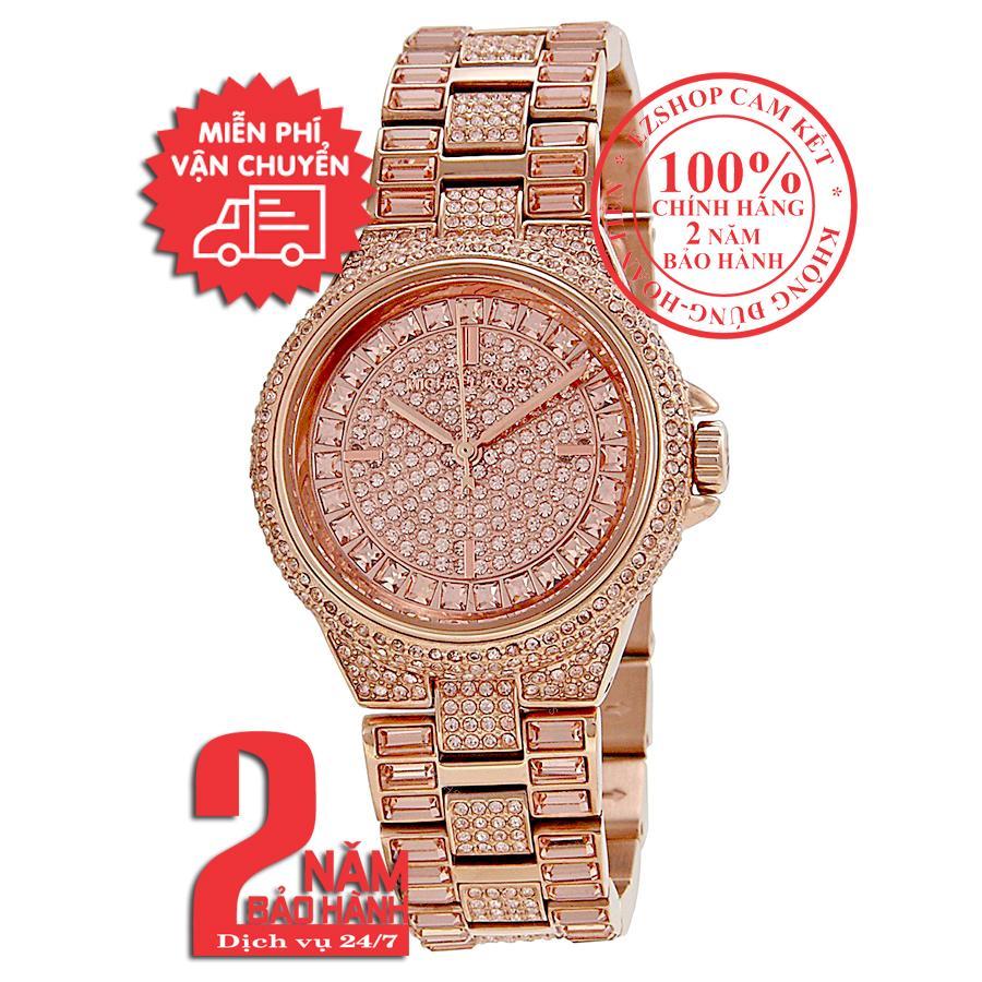 Nơi bán Đồng hồ nữ Michael Kors Camile MK5948 - Vỏ, mặt và dây màu Vàng hồng (Rose Gold), nạm đá pha lê Swarovski, size 33mm