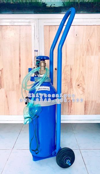 Bộ thở Oxy y tế kèm xe kéo bình khí - Bình Oxy 4 Lít nhập khẩu