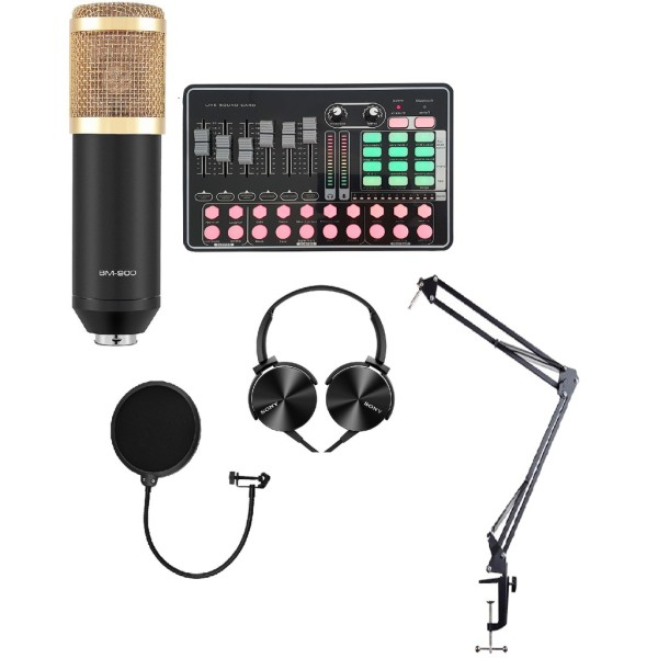 TRỌN BỘ COMBO mic hát karaoke livestream online micro BM-900 CARD H9 BLUETOOTH THẾ HỆ MỚI 21 HIỆU ỨNG