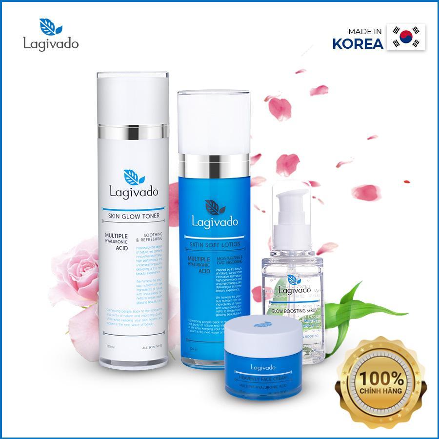 Bộ dưỡng cấp ẩm Hàn Quốc Lagivado giúp da mềm mịn trắng sáng, se khít lỗ chân lông phù hợp với mọi loại da - Bộ gồm 4 sản phẩm Tonner + Serum + Lotion + Cream nhập khẩu