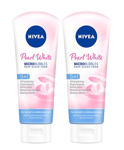 Combo 2 Sữa rửa mặt NIVEA Peal White giúp trắng da ngọc trai (100ml*2)