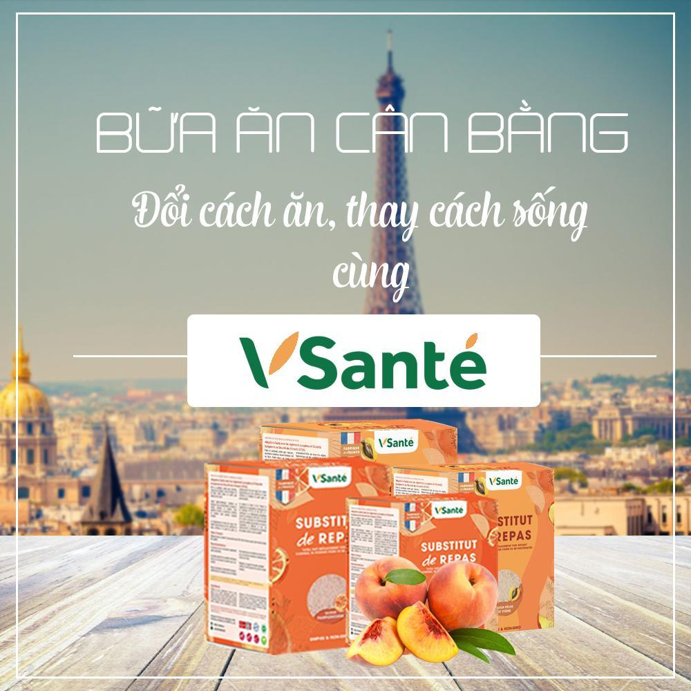 Combo 4 hộp Thực phẩm giảm cân [ Vị Đào + Bưởi ] - Thương hiệu Vsanté, Pháp + Tặng kèm bình lắc cao cấp