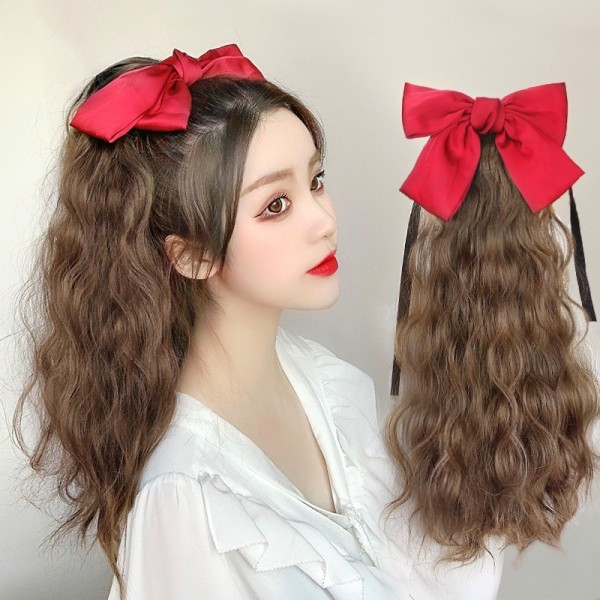 Tóc giả nữ ❤️FREESHIP❤️Tóc cột xù nơ đỏ 45cm giá rẻ