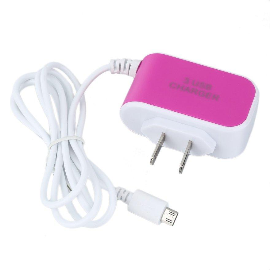 Oh Three Ports Home Charger With V8 Cable US Standard For iPhone/Samsung Phone