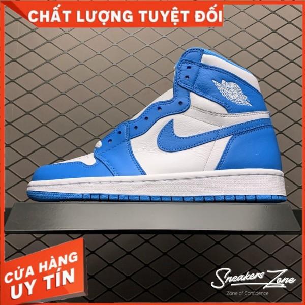 (FREESHIP+HỘP+QUÀ) Giày Thể Thao AIR JORDAN 1 Retro High UNC Xanh Trắng Cổ Cao Cực Phong Cách