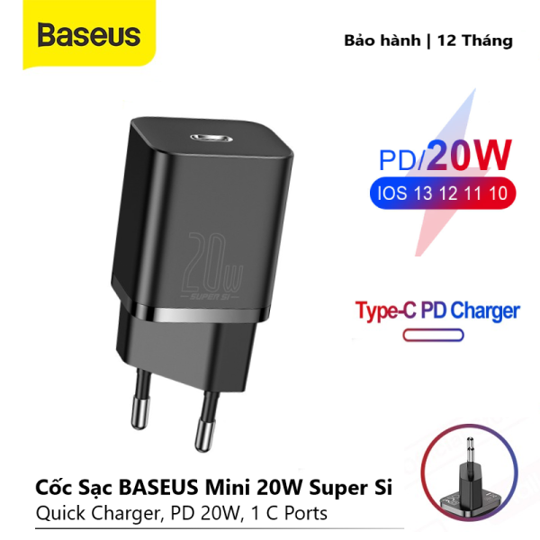 Cốc Sạc BASEUS Mini 20W Super Si Sạc Nhanh dùng cho iPhone 12 iPad Xiaomi OPPO Vivo Vinsmart Huawei, Đầu ra Type-C