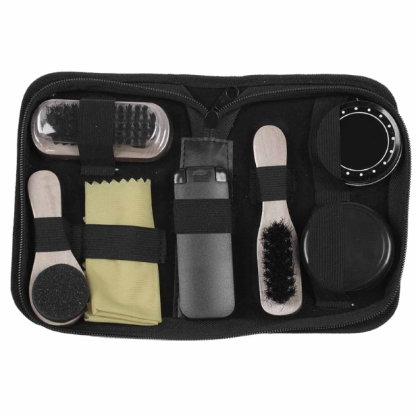 Giá bán Portable Shoe Care Kit (Black & Neutral Shoe Shine Polish Oil, 3 Brushes, 1 Buffing Cloth, 1 Suit Brush, Storage Case)