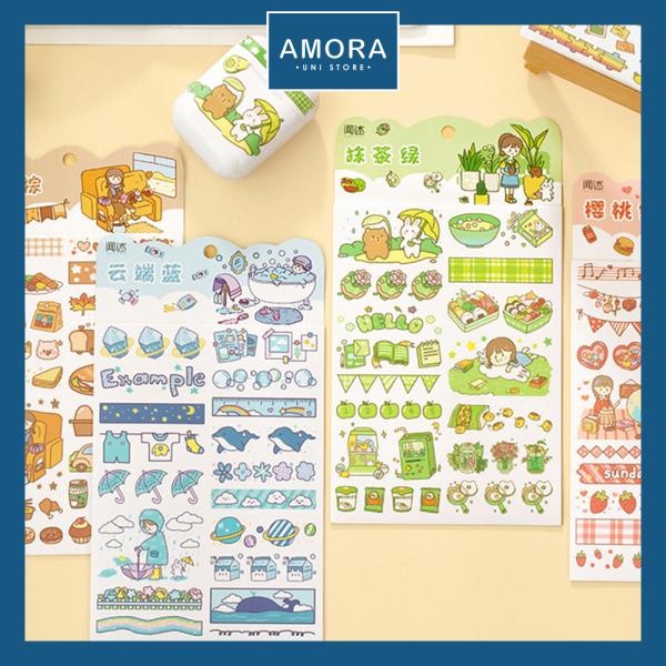 Mua SET 4 tờ sticker - Trang trí sổ tay Bullet Journal DIY - Amora UNI