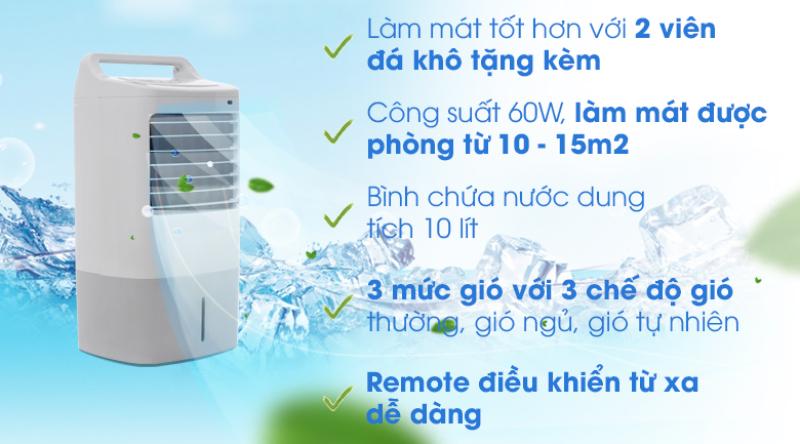 Quạt điều hòa Midea AC120-16ARMide -Hàng trưng bàyChế độ đảo gió tự động trái - phải tăng diện tích làm mát. Tấm làm lạnh dày 40 mm.Bình chứa 10 lítcó thang đo mực nước.tính năng tự ngắt bơm khi bình cạn nước