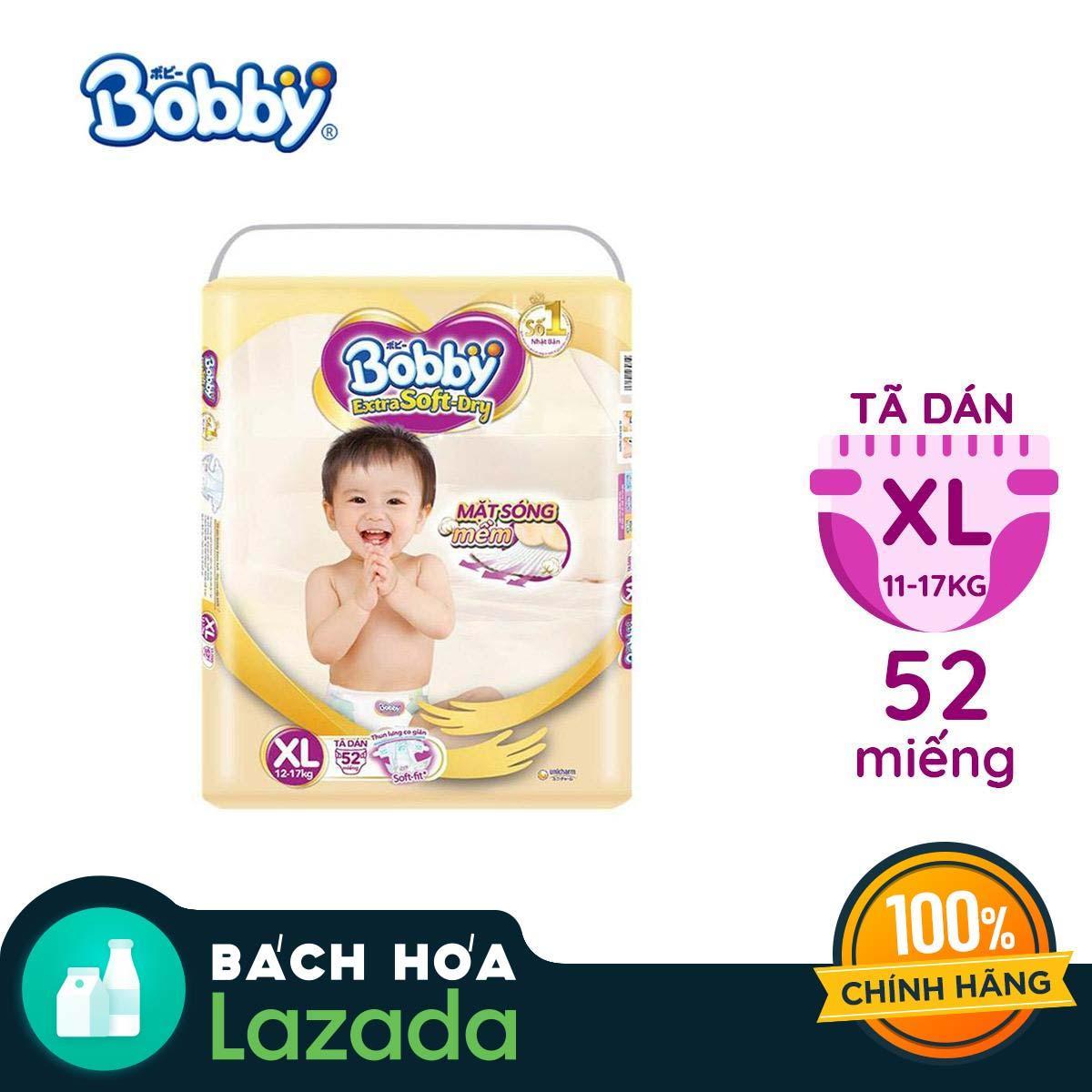 Tã/Bỉm dán cao cấp siêu mềm Bobby Extra Soft Dry XL-52 miếng (12 - 17kg)
