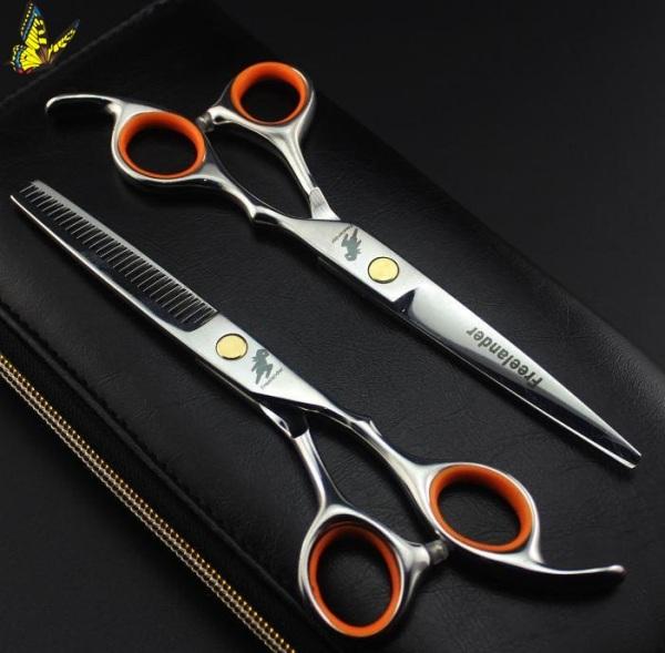 Bộ kéo (2 CÂY) cắt tóc freelander viền cam (mua cặp kéo được tặng 1 bao da 1 lược toni guy 1 dụng cụ chỉnh kéo) nhập khẩu