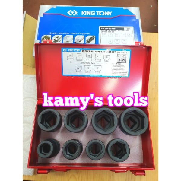 Bộ tuýp 3/4 8 chi tiết đen ngắn Kingtony model 6408MP10