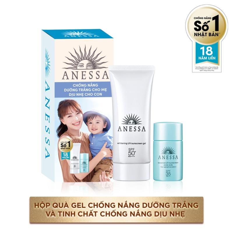Bộ đôi gel chống nắng dưỡng trắng anessa cho mẹ 90g và tinh chất chống nắng dịu nhẹ cho bé 20ml kèm hộp quà Anessa giá rẻ