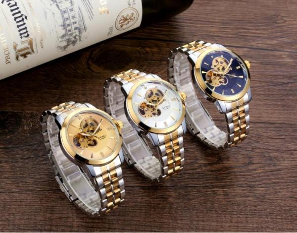 Đồng hồ cơ nam BYINO 8082 automatic mặt kính tráng sapphire, dây đúc đặc cao cấp, máy lộ cơ tinh tế, kim dạ quang giúp xem giờ trong tối [ HASAGI Store ] bán chạy