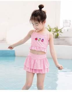 Đồ bơi bé gái kẻ sọc, bộ bơi cho bé từ 2 đến 12 tuổi chất lạnh tăm 3d, size đại 40kg thumbnail