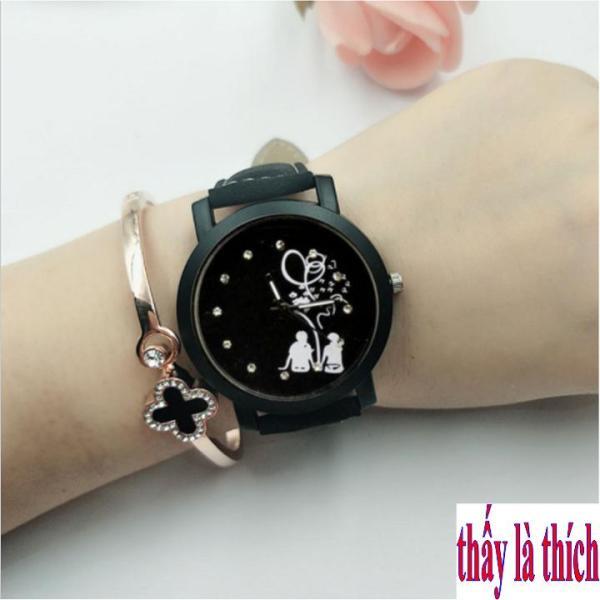 Đồng hồ nữ thấy là thích mặt họa tiết đôi tình nhân