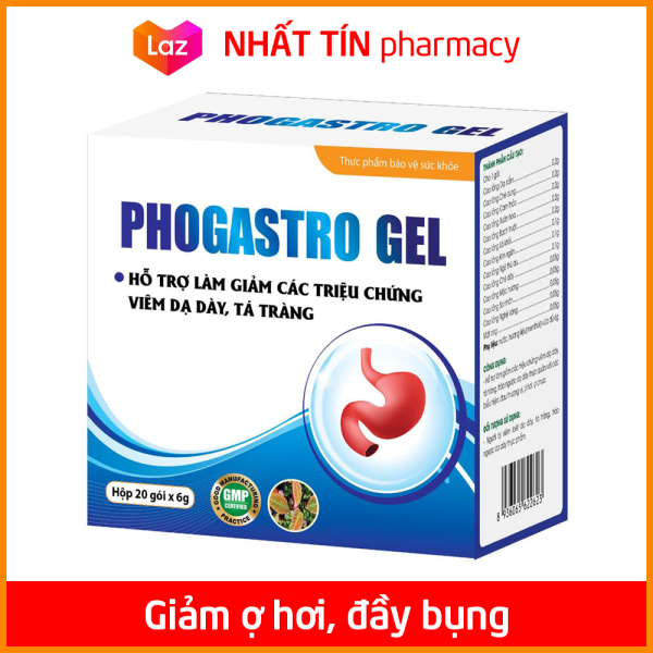 Gel giảm đau dạ dày, giảm trào ngược dạ dày, giảm viêm loét dạ dày, tá tràng Phogastro Gel - Hộp 20 gói x 6g -  NHẤT TÍN PHARMACY