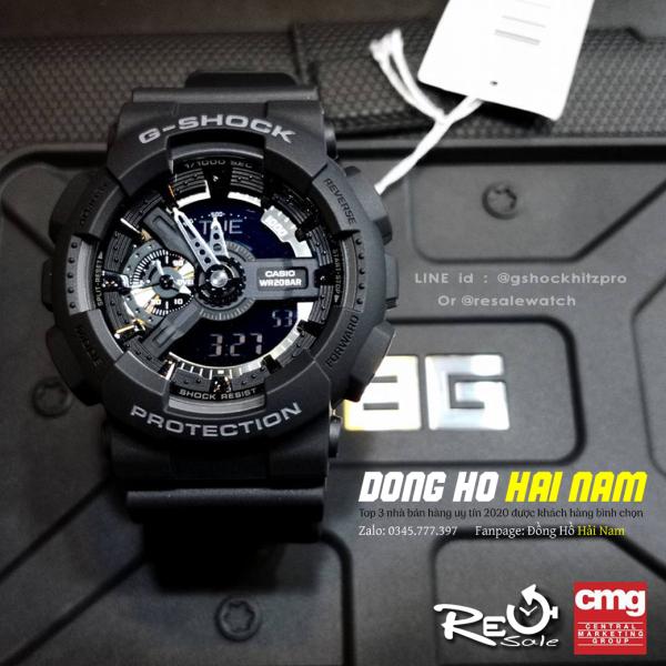 Đồng hồ thể thao nam G-SHOCK GA-110-1B + REP 11 + Dây cao su FULL ĐEN + Bảo hành 2 năm + FULL BOX + ĐỒNG HỒ HẢI NAM bán chạy