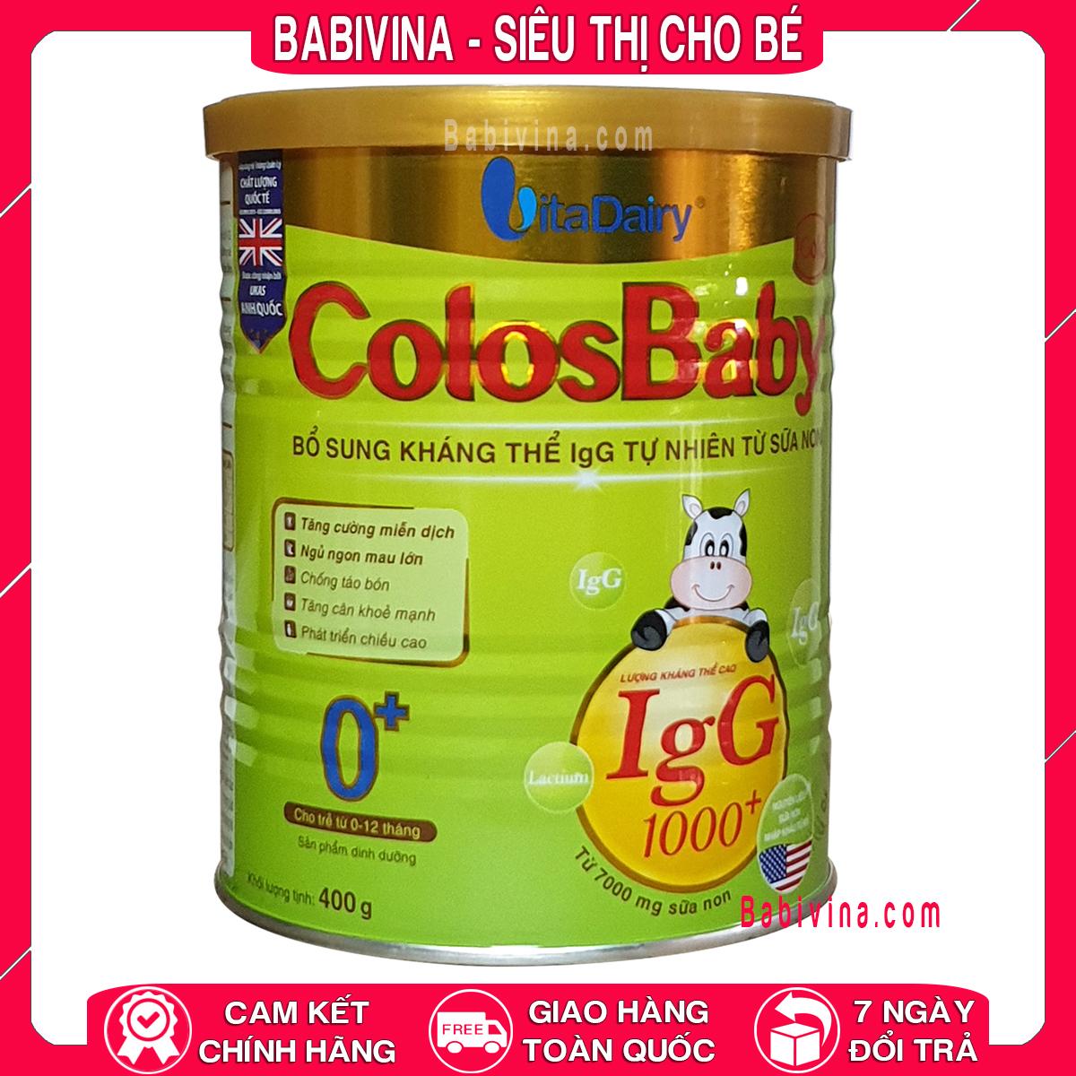 [LẺ GIÁ SỈ] Sữa Bột Colosbaby Gold 0+ 400g 1000lgG Sữa Non Dành Cho Trẻ Từ 0-12 Tháng Tuổi