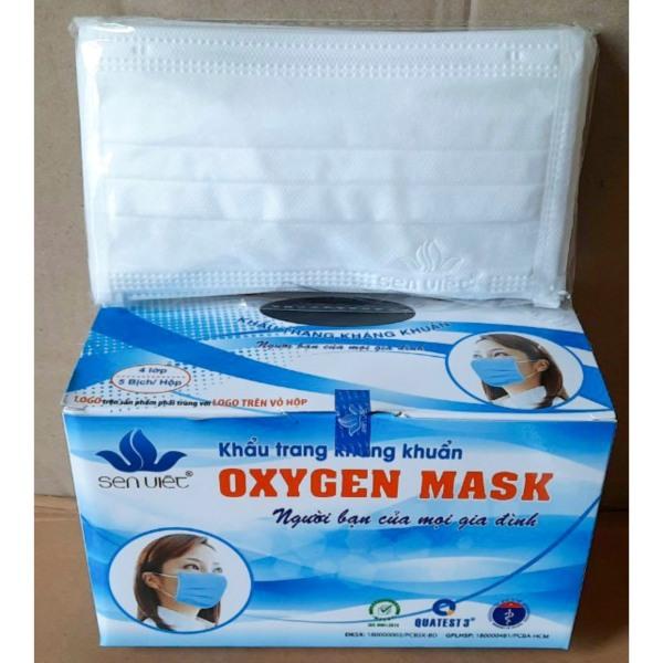 Khẩu Trang OxyGen Mask Sen Việt 4 Lớp Than Hoạt Tính | Hộp 50 Cái - Trắng.