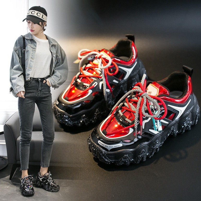 (VIDEO) Giày thể thao nữ độn đế vải bóng 2 dây kép đế vảy sơn ullzang Hàn Quốc 2020 giá rẻ