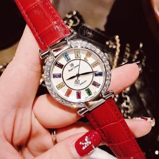 Đồng hồ nữ dây da Royal Crown mặt đính đá 7 màu- vỏ Trắng (Silver),đồng hồ nữ dây da màu Đỏ (Red), size 36mm-RC07012, đồng hồ nữ vỏ đính đá , Kiwi xanh thumbnail