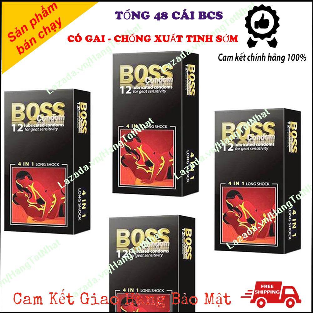 Combo 4 Hộp Bao Cao Su Boss 4in1 Gân Gai Kéo Dài Thời Gian [ Tổng 48 Cái ]