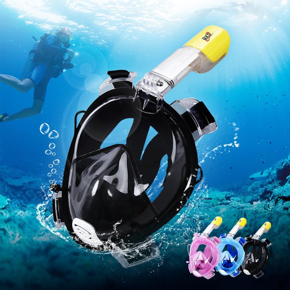 Kính bơi nào tốt, Kinh bơi dạng Mặt lạ lặn biển Full Face Liền Ống Thở cao cấp Chống nước tuyệt đối góc nhìn cực rộng 180 độ ( BẢO HÀNH UY TÍN 12 THÁNG)