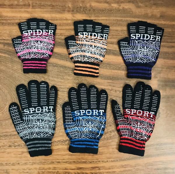 Combo 6 đôi găng tay len , phủ nhựa hình nhện chống trược ,cắt 5 ngón và không cắt ngón lựa chọn ,dành cho nam & nữ , ảnh thật
