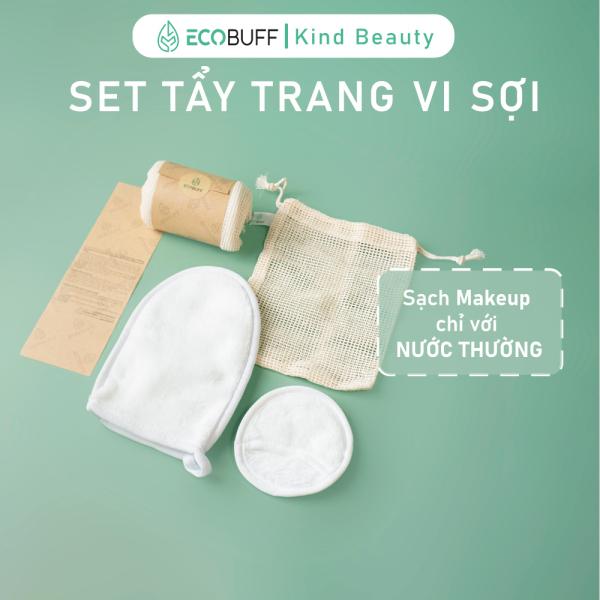 Set Găng Tay và Bông tẩy trang vi sợi tái sử dụng - MakeUp Eraser Tẩy sạch Make up chỉ với nước thường   Ecobuff