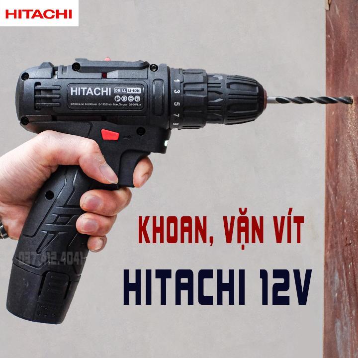 Máy khoan HITACHI pin 12V, máy khoan đa năng, máy khoan bắn vit, máy khoan cầm tay, bộ máy khoan sửa chữa vặn vít có đảo chiều, đèn led định vị, lõi đồng