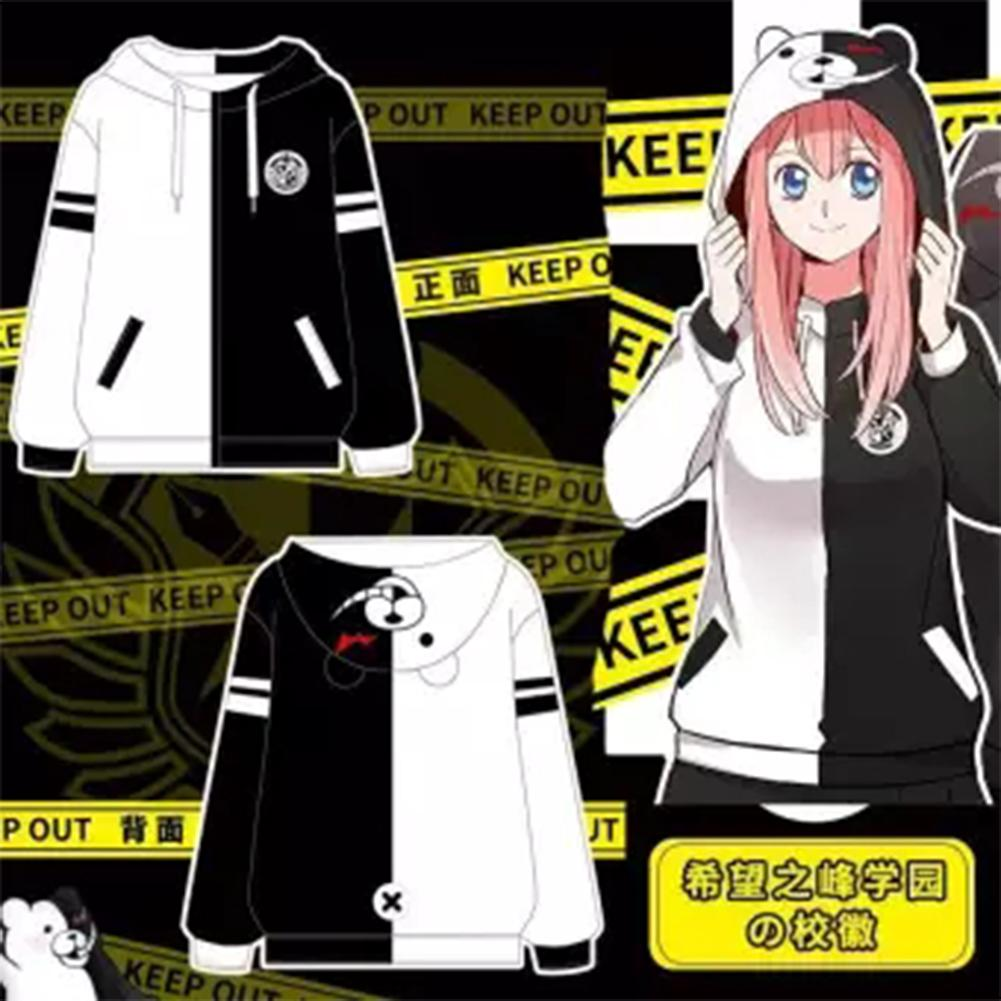 Anime Danganronpa Monokuma Hoodies Cosplay Costume Women Men Hoodie Sweatshirt Hooded Black Long Sleeve Daily Casual Coat Jacket