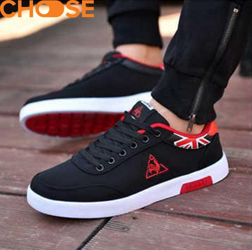 (Hàng Mới Về)Giày Lười Nam Màu Đỏ Đen/Giày Mọi Sneaker  Họa Tiết Tam Giác Phá Cách 0601 Duy Nhất Khuyến Mại Hôm Nay