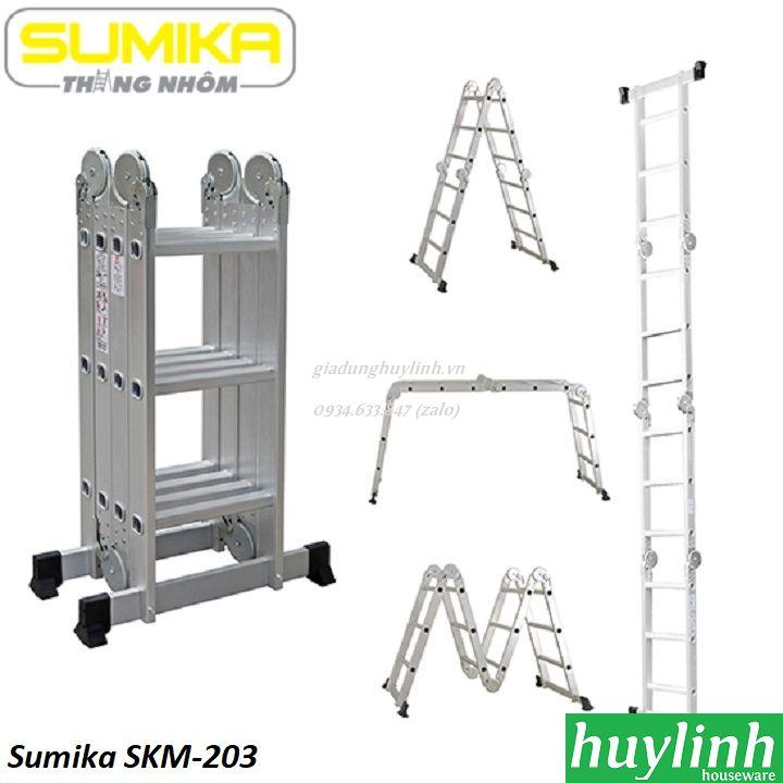 Thang nhôm gấp đa năng 4 đoạn Sumika SKM-203 - 3.6 mét
