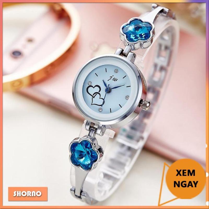 Nơi bán Đồng hồ nữ JW kiểu dáng thời trang, dây kim loại, đính đá hình hoa mai xanh biếc, kiểu lắc tay nhỏ nhắn, màu gold/silver
