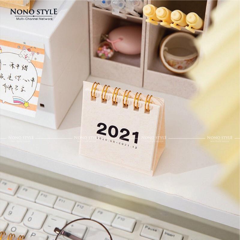 Lịch để bàn mini 2021 tiện dụng màu pastel size nhỏ 6x6cm dùng để bàn làm việc, bàn học bắt đầu từ 10/2020-12/2021, văn phòng phẩm tiện ích