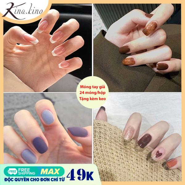 [Tặng keo +dũa] Bộ 24 móng tay giả cao cấp Mâu mới 2021- Kinakino phukienlamdep giá rẻ