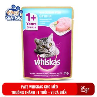 1 gói Thức ăn Pate Whiskas adult cho mèo trưởng thành 85gr vị cá biển thumbnail