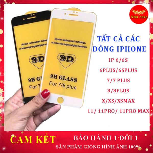 Kính Cường Lực Iphone 9D Full Màn Iphone 6/6s/6Plus/7/7Plus/8/8 Plus/ X,XR, Xs Max/ip11/11pro/11pro max  miếng dán màn hình dễ dán, kèm giấy lau