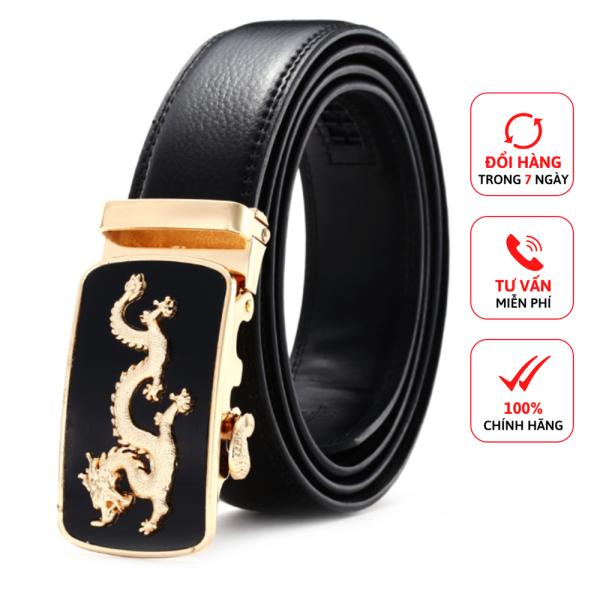 Thắt lưng nam rồng vàng khóa tự động D&D Fashion dây da màu đen dài 120cm