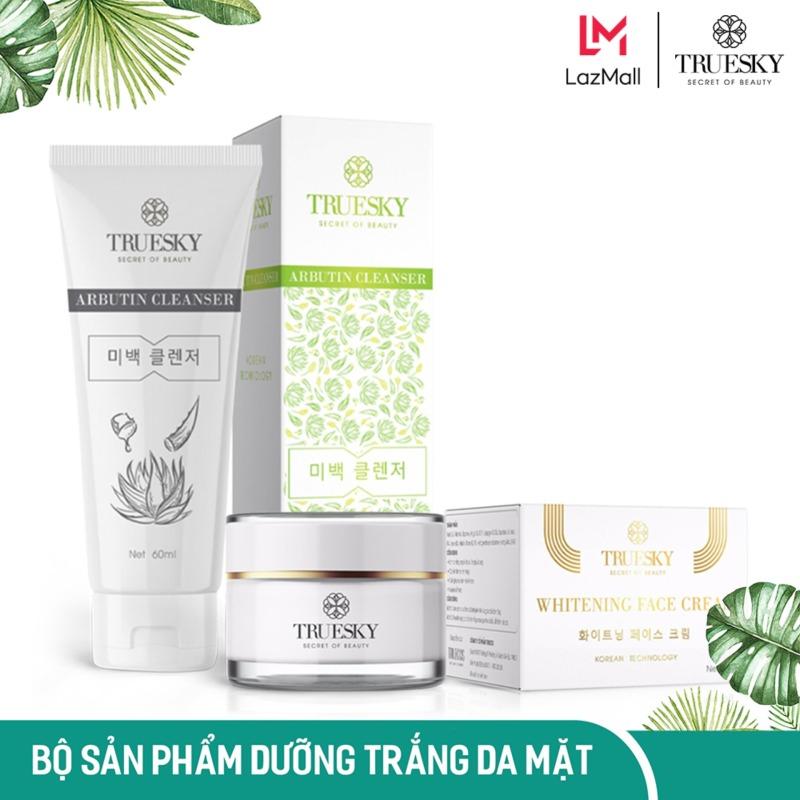 Bộ sản phẩm dưỡng trắng da mặt Truesky VIP07 gồm 1 sữa rửa mặt trắng da 60ml và 1 kem dưỡng trắng da mặt 10g nhập khẩu