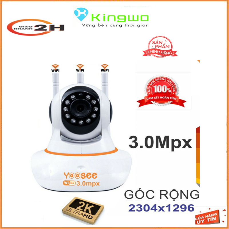 Camera wifi yoosee 3 râu 3.0MP góc rộng 2304*1296P - xoay 360 Thế hệ mới hình ảnh sắc nét 3.0mp ,10 đèn hồng ngoại đàm thoại 2 chiều-camera yoosee-camera wifi-yoosee camera-camera yoosee xoay 360 độ