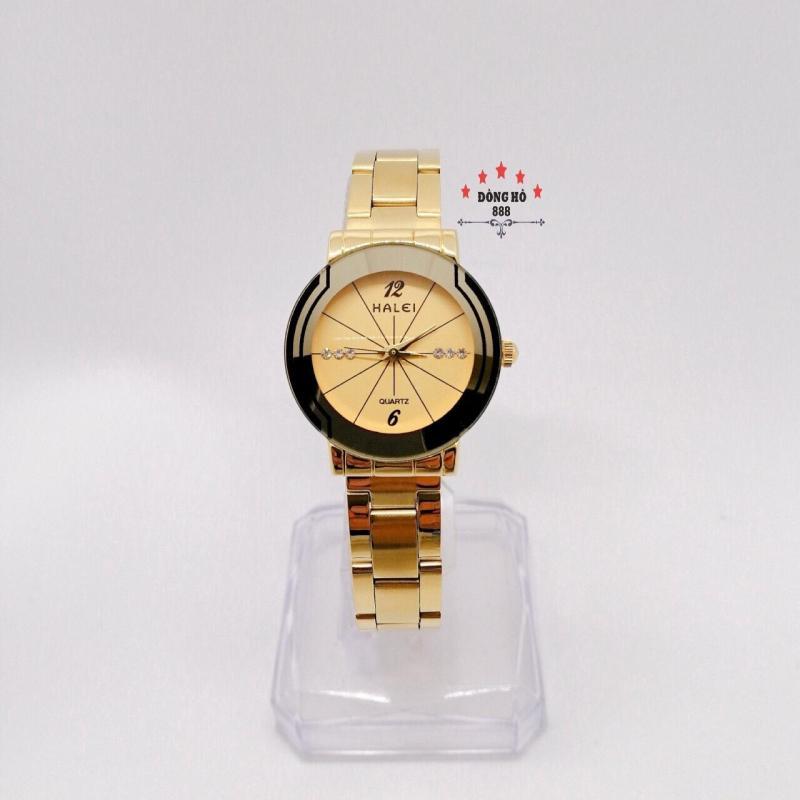 Đồng hồ nữ HALEI dây kim loại thời thượng ( HL457 dây vàng mặt vàng ) - TẶNG 1 vòng tỳ hưu phong thuỷ