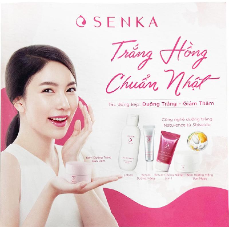 Bộ trial kit Dưỡng da Mochi trắng hồng Senka (Lotion + Serum + UV CC chống nắng) giá rẻ