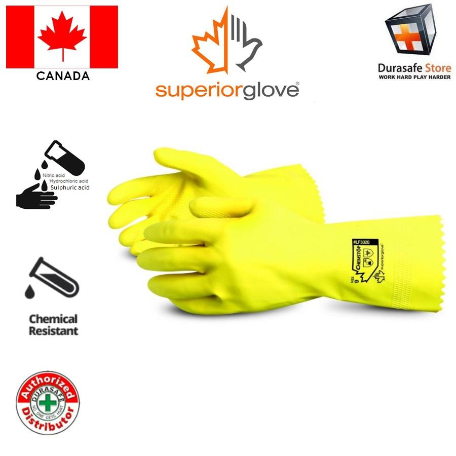 Găng tay chống hóa chất SUPERIOR LF3020 Chemstop Yellow Flock-Lined Latex Chemical Resistant Glove, Size 10/XL