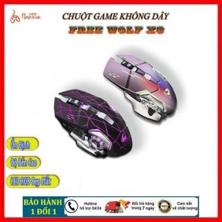Chuột Chơi Game Không Dây Gaming Wolf X8 - Chuột máy tính không dây có LED 7 Màu RGB, Pin Sạc Dùng Cực Lâu thumbnail