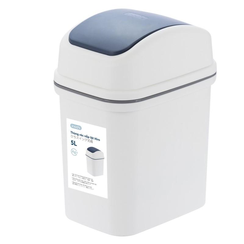 Thùng rác nắp lật Hiro Inochi Nhật Bản (hàng xuất Nhật) công nghệ Ag+ (ion bạc) kháng khuẩn khử mùi