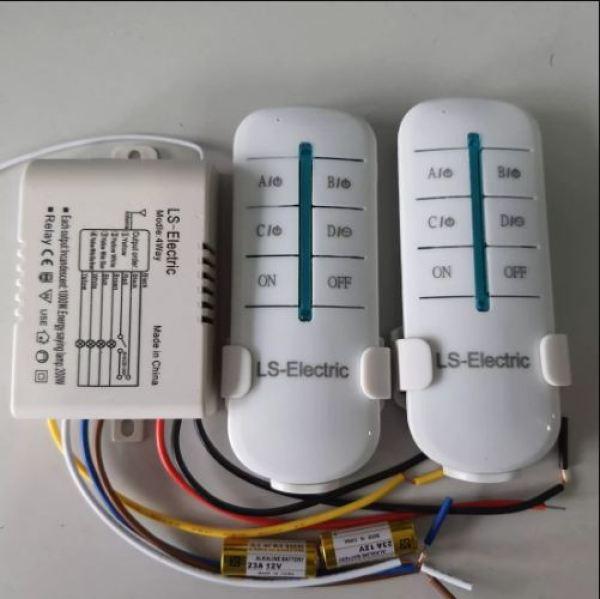 Bộ công tắc điều khiển từ xa 4 cổng 2 tay điều khiên- LS-Electric, sóng RF 315 xuyên tường tới 30m, RF 4 cổng